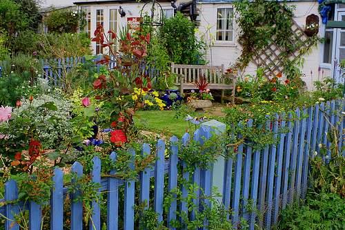 A cerca de piquete mantém animais para fora e emoldura o jardim da casa perfeitamente!