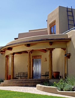 Pueblo revival home architecture and design features for Modern adobe houses