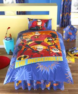 The Incredibles and other super hero bedding sets are easy to find at Target, Wal-mart and other stores.